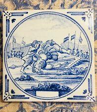 Vintage Holland Delft Tile David Beheading Goliath Bible Scene Free Shipping!