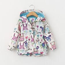 Kids Boys Girls Long Sleeve Cute Animals Print Jacket Coat Hooded Outerwear