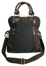 Canvas Foldover Handbag with Leather Trim for Women and Men - Charcoal Black
