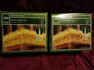 2 sets Holiday Time 18 ft Icicle Light, Clear - 300 count NIB