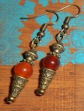 Handmade Vintage Boho Dangle Drop Red Agate Stone Beads Antiqued Bronze Earrings