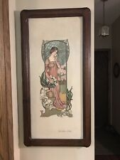 Art Nouveau Oil Painting Of Woman With Orchids