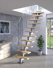 Raumspartreppe mit Buche-Holz-Stufen, Geschosshöhe 222-276 cm, einfache Montage