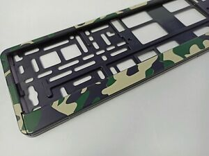 Green Camouflage style holder for EURO license plate frames FOR ALL CARS