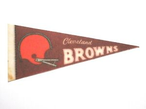 """Vintage Mini Pennant-9"""" x 4""""-Stiff Felt-CLEVELAND BROWNS-1970s 1980s-AS IS!"""