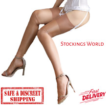 Fully Fashioned Stockings COFFEE Non Stretch Seamless GLOSSY 10 Denier Medium UK