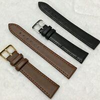 Mens Genuine Leather Watch Strap Wristwatch Belt Bands 12 14 16 18 20 22mm Black