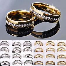 Mode Stilvolle Unisex Bridal Silber Gold Edelstahl Kristall Band Ringe 17-21mm