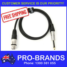 """1-Metre QUALITY XLR Female to Male 1/4"""" Microphone Link Cable Lead Cord PA 1M"""