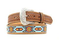 Nocona Tan Leather Mens Beaded Inlay Multi Belt