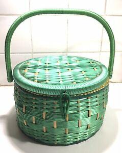 Vintage Round Green Weaved Made In Japan Sewing Basket