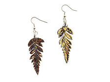 Earrings French Wire Dangle Made in Us Long Fern Real Leaf Silver Dipped/ Plated