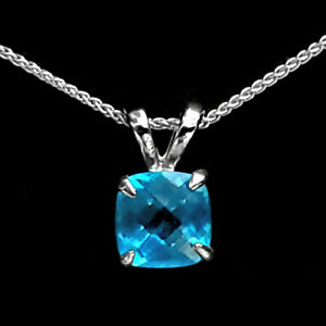 Trustmark Sterling Silver 8mm Cushion Cut Birthstone Solitaire Pendant Necklace
