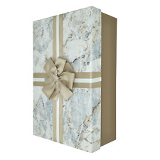 Luxury Extra Large Rectangular Rigid Marble Print Gift Box With Gold Bow