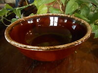 "Vintage Brown Bowl Hull Pottery Drip apx 10.5"" diam Mixing Bowl Used - Abused"