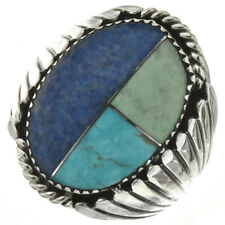 NAVAJO TURQUOISE AND LAPIS SILVER MEN'S INLAID RING...LOVELY