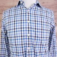 UNTUCKit SLIM FIT NYLON BLEND LONG SLEEVE BLUE CHECK BUTTON UP SHIRT MENS SZ M