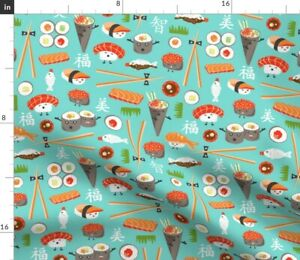 Happy Sushi Japanese Kawaii Food Whimsical Aqua Spoonflower Fabric by the Yard