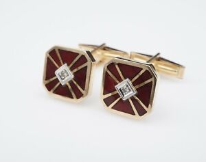 "Handcrafted Geometric 14k Yellow Gold Red Enamel Diamond Cufflinks 1/2"" M1221"