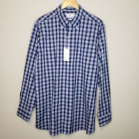 Southern Tide Plaid Button Up Shirt Sz L Blue  Long Sleeve Casual Classic Cotton