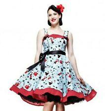 Blue Swing Dress - sizes UK8 UK10 Rock & Roll Retro 1950s Pin Up rockabilly look