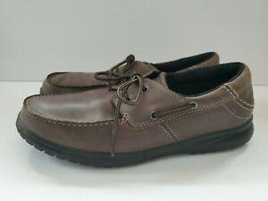 Crocs Shaw Casual Leather Boat Shoes Espresso & Black 202081 Men's 10