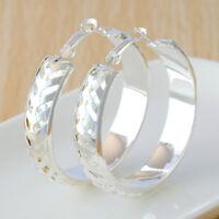 Fashion Women Jewelry 925 Silver Plated Round Hoop Dangle Earring Ear Stud NEW