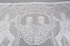 Gardine mit Spruchband, den Portraits Kaiser Wilhelm II. und Franz Josef I.