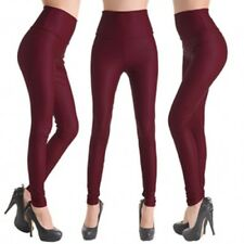 Women's High Waist Leggings Pants Shiny Latex Faux Imitation Leather Full Length