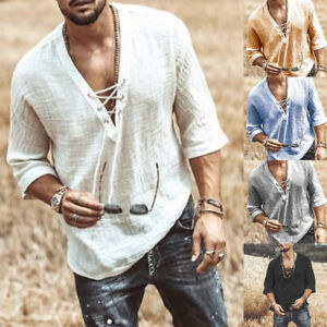 Mens Casual Long Sleeve Tops Cotton Linen Blouse Loose Henley V-Neck T Shirts