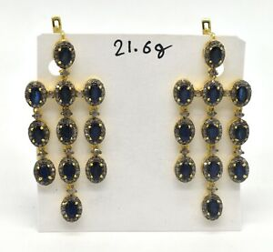 Pave Diamond Blue Sapphire Gemstone 925 Sterling Silver Clip Style Gift Earring