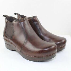 Dansko Ladies Brown Leather Mid Cut Clogs Size 9