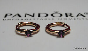 AUTHENTIC PANDORA ROSE™  EARRINGS PURPLE SOLITAIRE HUGGIE HOOPS #289304C01