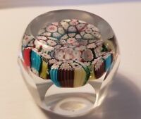 Beautiful Murano Glass Millefiori Faceted Paperweight 6 Color Canes