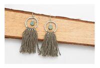Brand New,  Drop/Dangle, Copper Pend with Cotton Tassel Earrings-Green