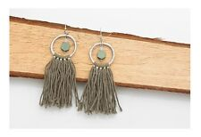 Brand New,  Drop/Dangle, Copper Pend with Cotton Tassel Earrings-Green