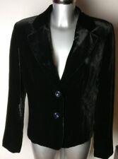 Diseñador De Seda Terciopelo Negro De Mujer RAFAELLA Rayón Blazer Chaqueta Talla EE. UU. 10 Reino Unido 12