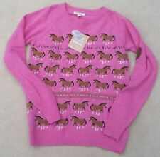 BARBOUR Girls Pink Long Sleeved Horse Design Lambswool Blend Jumper 10-11 Years