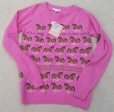 BARBOUR Girls Pink Long Sleeved Horse Design Lambswool Blend Jumper 10-11 Years