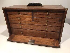 "Antique Machinist Tool Box Felt Lined 7 Drawer Tiger Oak Tool Chest 20x12x9.5"""