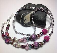 Handmade Purple Stone Pearl Eyeglass Chain/Lanyard W/ Swarovski Elements USA