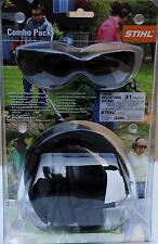 New OEM STIHL SAFETY GLASSES SMOKE LENS & HEARING PROTECTOR COMBO PACK NEW!