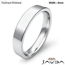 Platinum Flat Pipe Cut Comfort Fit Band Men Wedding Matte Ring 4mm 8.2gm 9-9.75