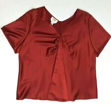TALBOTS Sz 18 Pure Silk Rust Orange Double V Neck Short Sleeve Blouse Top