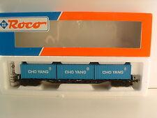 "ROCO H0 46780 Containertragwagen ""CHO YANG"" OVP M384"