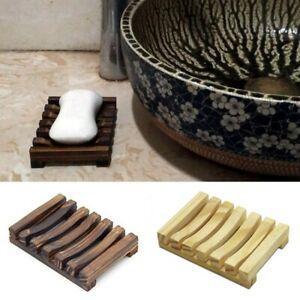 Wood Soap Tray Bathroom Kitchen Soap Dish Durable Shower Soap Case Holder NEW