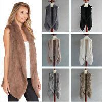 100% Real Rabbit Fur Vest Knitted Thick Fur Long Collar Women Gilet Waistcoat