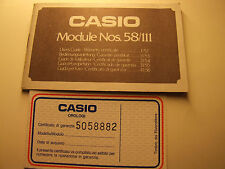 VINTAGE CASIO MODULE Nos.58/111 USER'S GUIDE / WARRANTY CERTIFICATE
