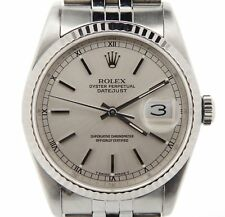 Mens Rolex Stainless Steel/18K White Gold Datejust Silver w/Jubilee Band 16234