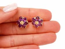 Designer Estate 14K Gold 5ct. Amethyst Stained Glass Flower Pierced Earrings Box